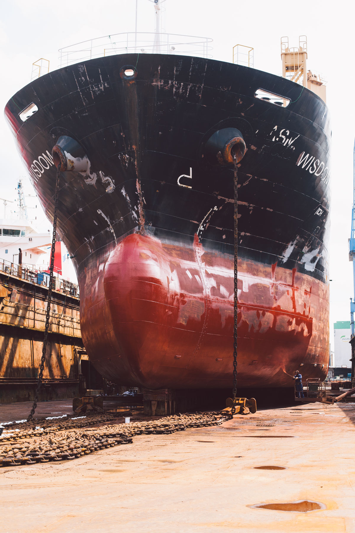 Ship in dry dock Bremerhaven