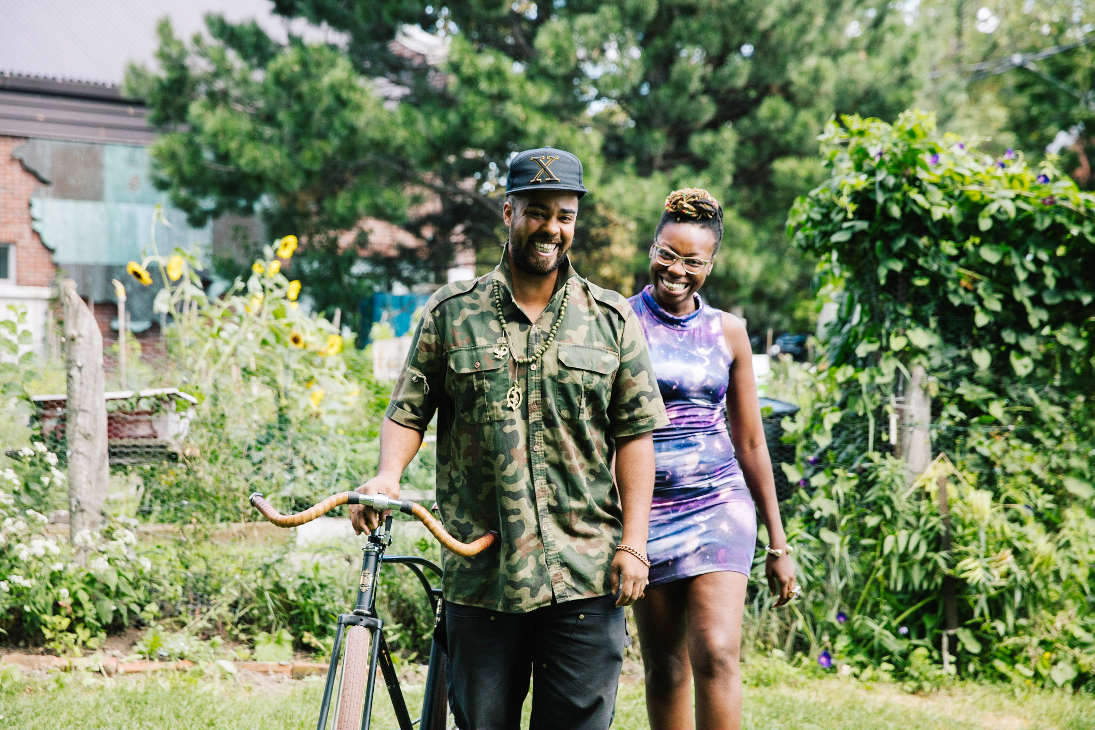 African American couple with bicycle in Toronto