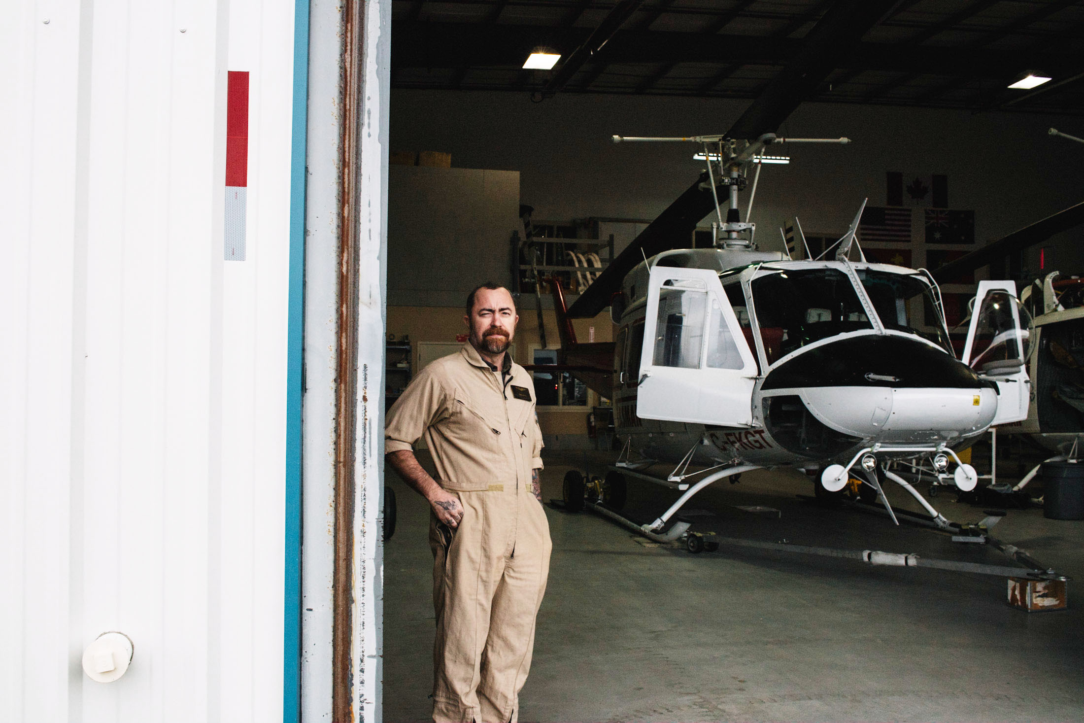 Helicopter pilot at garage